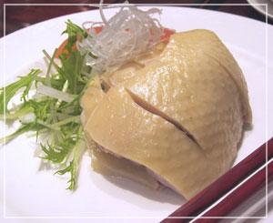横浜中華街「萬珍樓本店」にて、前菜の蒸し鶏。美しいです♪