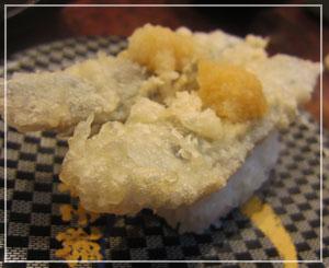 「銚子丸」にて、「いわし南蛮握り」。サクサク天ぷら、うまー♪