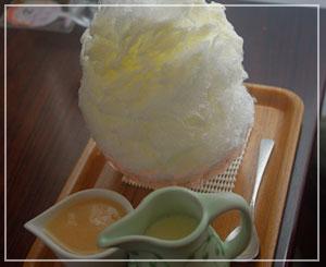 「埜庵」にて、白桃みるく+おかわり練乳。
