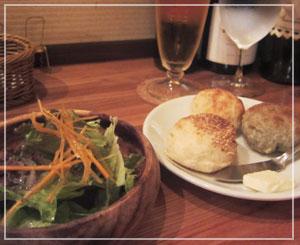 西千葉「Sole」にて、自家製パンとサラダ。