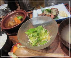 丸ビル「もつ福」の牛タン厚切ステーキ御膳♪うま!
