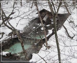 「蔵王温泉大露天風呂」。いつか入ってみたいけど、橋からは丸見えなのね……