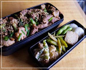 今日のお弁当は、豚にら胡麻風味炒めご飯~。