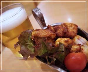 稲毛「Shiba」にて、ビールのお供にチキンソテイ。