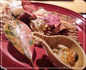 千葉そごう内「美濃吉」にて、なんとも秋らしい前菜盛り合わせ。