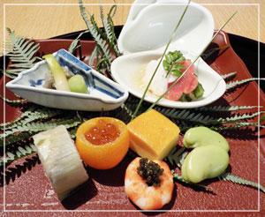 パレスホテル東京「和田倉」にて、会席のお楽しみ、八寸。