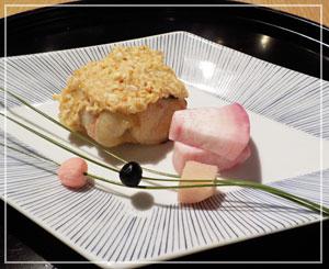 パレスホテル東京「和田倉」にて、甘鯛の唐墨焼。