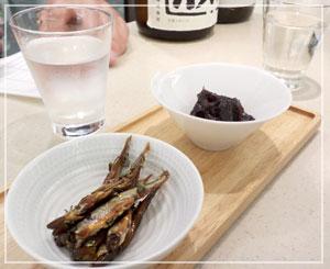 銀座松屋内「KIKIZAKE BAR」にて。肴がまた良い感じでした。
