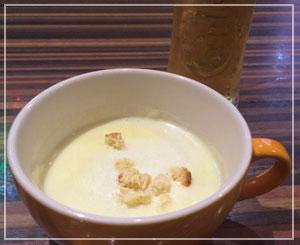 津田沼「Ci sono !」にて、日替りスープはさつまいも。