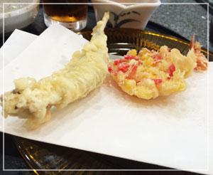 紅生姜とコーンの天ぷらが、新鮮な味わいでした。