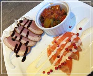 冷前菜3種は、鴨とかスモークサーモンとか。