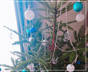 今年のツリーはシルバー&ブルーで。