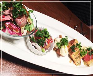 津田沼「クラッカ」にて、おまかせ前菜。彩り綺麗でボリュームたっぷり。