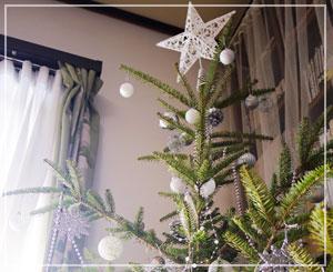 今年のクリスマスツリーはWhite&Silverになりましたよ。
