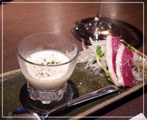 銀座の「荻 -Teki-」にて。お酒に似合うおいしい前菜からスタート