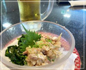 銚子丸のなめろうも美味しいのです。味噌っぽくないあっさり味。